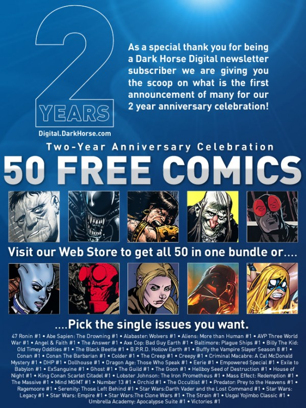 Dark Horse Gives Fifty Comics Away For Free – With A Buy-All Button