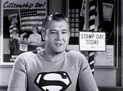 "Actor George Reeves as Superman in the U.S. government film ""Stamp Day for Superman."" 1954. Source/Author: United States Treasury Department."