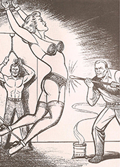 "According to Craig Yoe in his book Secret Identity: The Fetish Art of Superman's Co-Creator Joe Shuster, Superman co-creator Joe Shuster anonymously illustrated likenesses of his Superman characters being beaten and tortured in the fetish comic book series ""Nights of Horror"" after he and co-creator Siegel lost rights to Superman and its related characters. Many believe these illustrations channel Shuster's rage at losing his creations. 1950s."