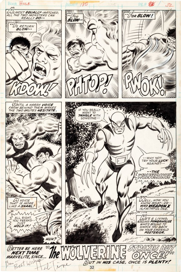 incredible-hulk-180-original-art-herb-trimpe-wolverine