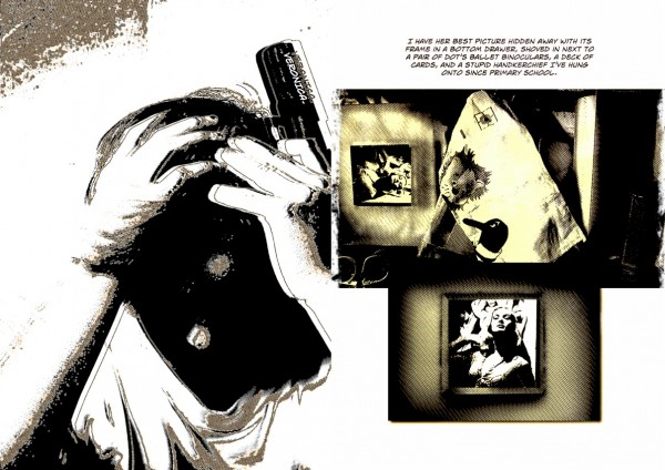 Double-page spread_TOBACCO-STAINED MOUNTAIN GOAT graphic novel