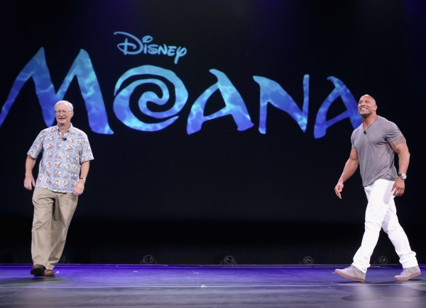 "ANAHEIM, CA - AUGUST 14: Director John Musker (L) and actor Dwayne Johnson of MOANA took part today in ""Pixar and Walt Disney Animation Studios: The Upcoming Films"" presentation at Disney's D23 EXPO 2015 in Anaheim, Calif.  (Photo by Jesse Grant/Getty Images for Disney) *** Local Caption *** Dwayne Johnson; John Musker"