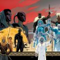 A low res copy of Paolo Rivera's connecting art work on variant covers for Black Panther 9 to 12