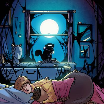 Tippy-Toe (Squirrel Girl's side kick squirrel) is covered in the Venom symbiote and is taking over the whole room whilst Squirrel Girl sleeps
