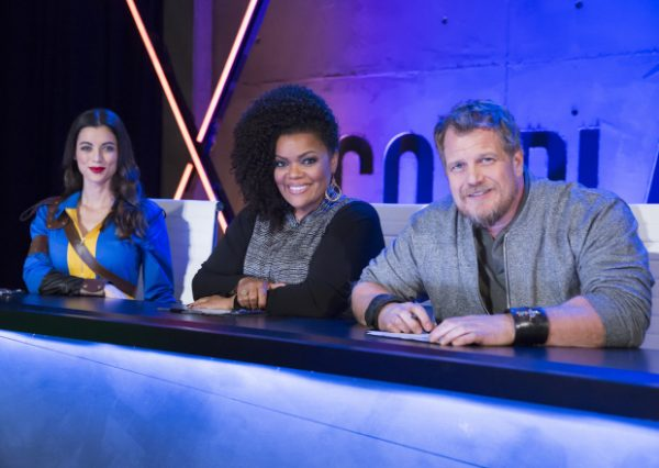 "COSPLAY MELEE -- ""You Down with RPG"" Episode 106 -- Pictured: (l-r) LeeAnna Vamp, Yvette Nicole Brown, Christian Beckman -- (Photo by: Dale Berman/Syfy)"