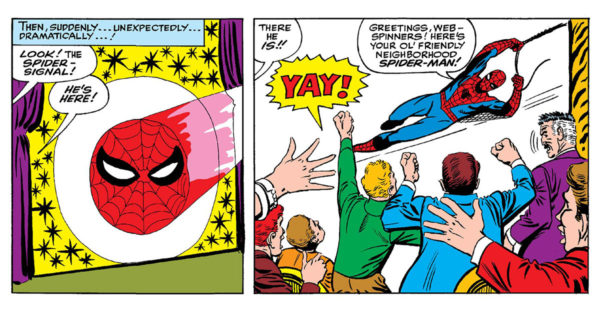 Friendly Neighborhood Spider-Man -- first usage in Amazing Spider-Man #17 (Marvel, 1963)