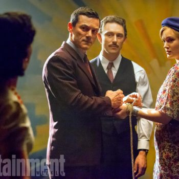 PROFESSOR MARSTON AND THE WONDER WOMEN (l-r.) Rebecca Hall as Elizabeth Marston, Luke Evans as Dr. William Marston, JJ Feild as Charles Guyette and Bella Heathcote as Olive Byrne