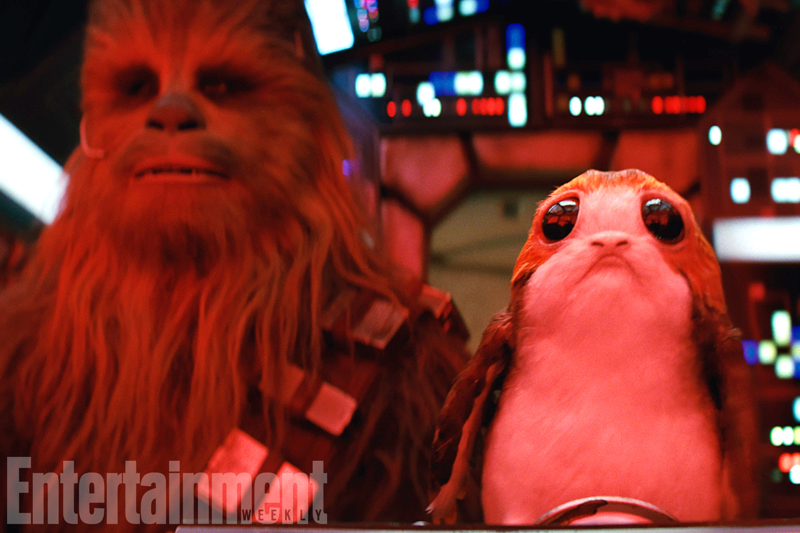 Star Wars: The Last Jedi L to R: Chewbacca (Joonas Suotamo) and a Porg