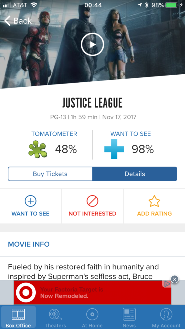 justice league s secret rotten tomatoes score is reportedly 48