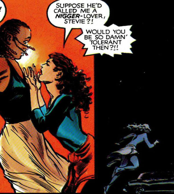 Moment from God Loves, Man Kills that Claremont is referencing (art by Brent Anderson and Steve Oliff)