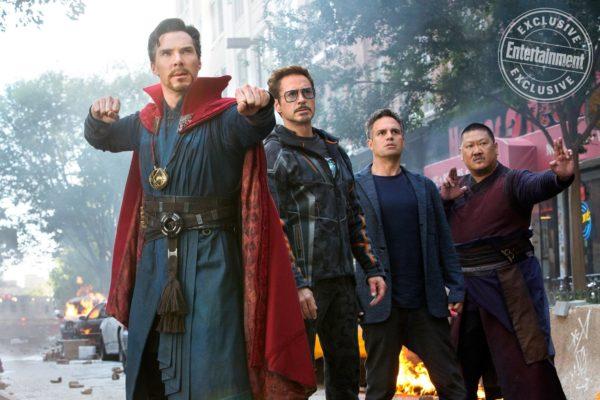 Benedict Cumberbatch as Doctor Strange, Robert Downey Jr. as Tony Stark/Iron Man, Mark Ruffalo as Dr. Bruce Banner/Hulk, and Benedict Wong as Wong