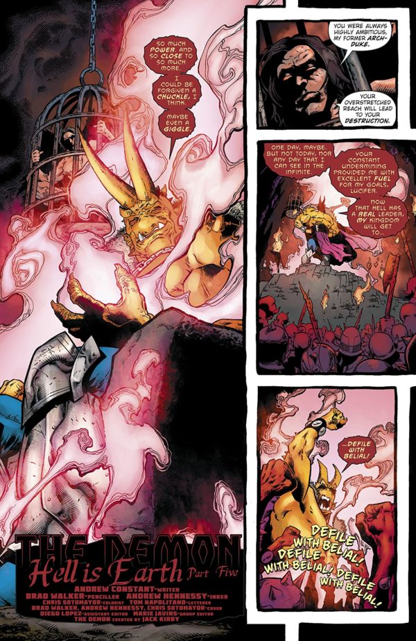 The Demon: Hell is Earth #5 art by Brad Walker, Andrew Hennessy, and Chris Sotomayor