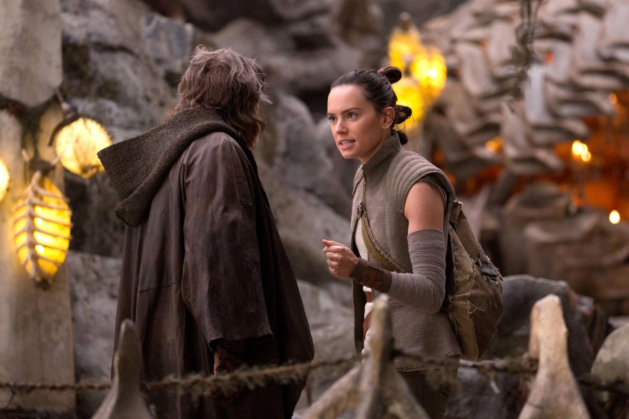 Star Wars: The Last Jedi Luke (Mark Hamill) and Rey (Daisy Ridley)