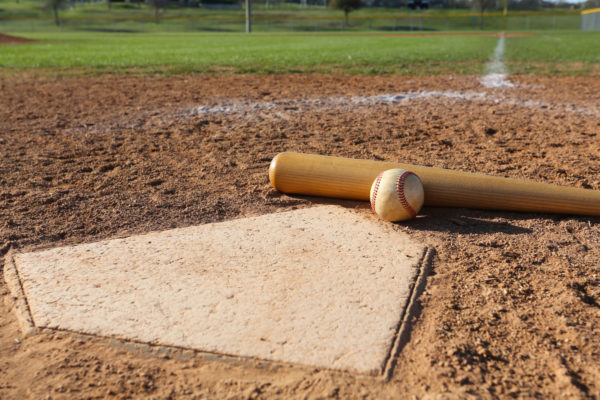 Baseball, Bat, and Home Plate -- David Lee/Shutterstock.com
