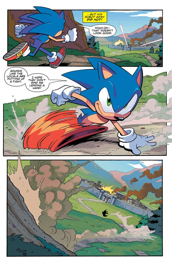 Sonic the Hedgehog #1 art by Tracy Yardley, Jim Amash, Bob Smith, and Matt Herms