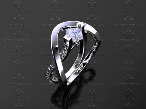 Zelda and Link Triforce 1.20ct Stering Silver Ring Set Sapphire Studios