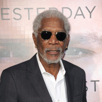 "Morgan Freeman at the Los Angeles premiere of ""Transcendence""."