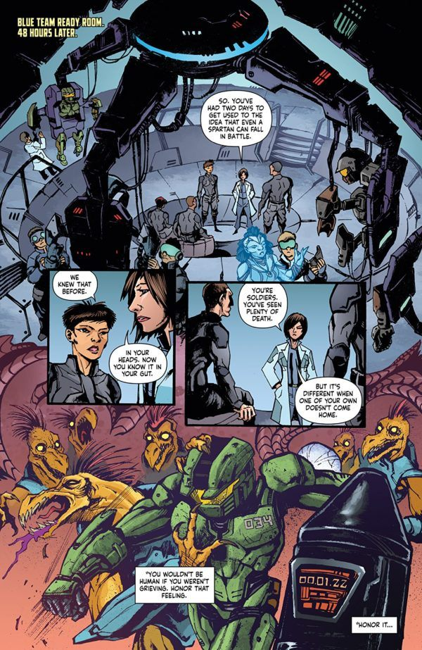 Halo: Collateral Damage #1 art by David Crosland and Len O'Grady