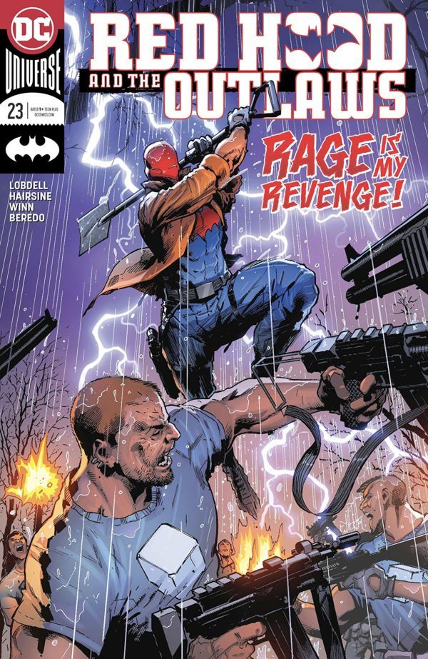 Red Hood and the Outlaws #23 cover by Trevor Hairsine and Antonio Fabela