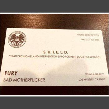 Captain Marvel nick fury business card