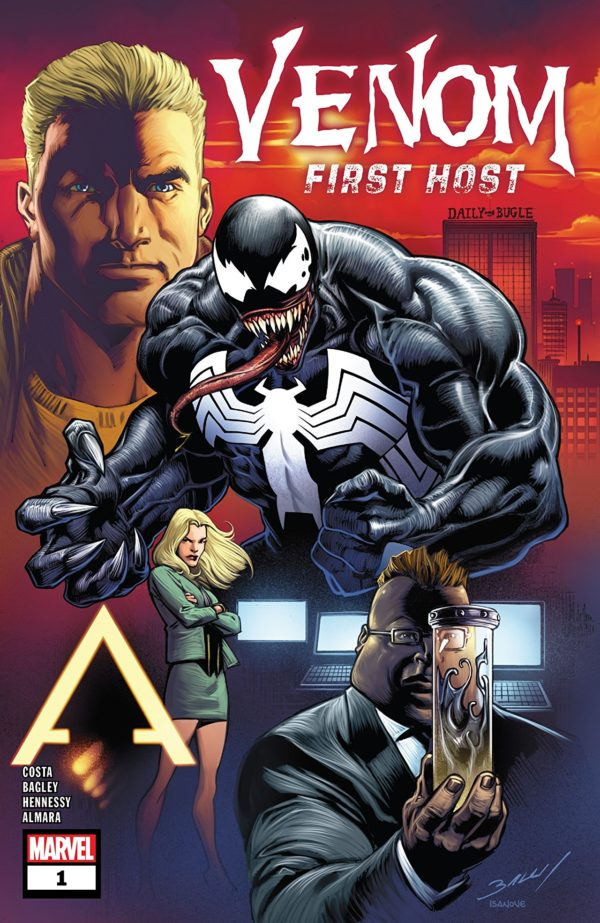 Venom: First Host #1 cover by Mark Bagley, Andrew Hennessy, and Dono Sanchez-Almara