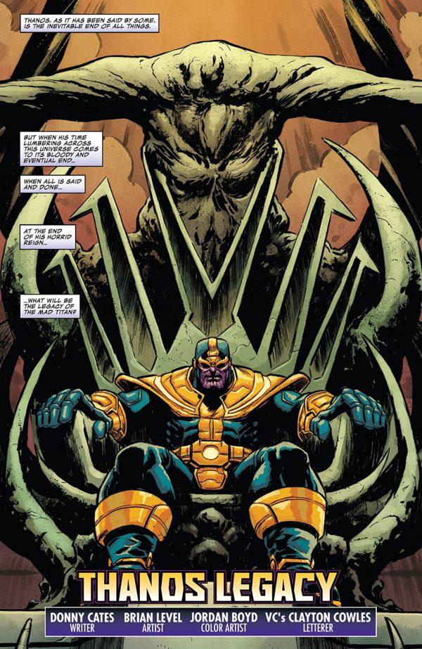 Thanos Legacy #1 art by Brian Level and Jordan Boyd