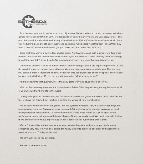 Bethesda Softworks Pens a Letter About Ongoing Support for