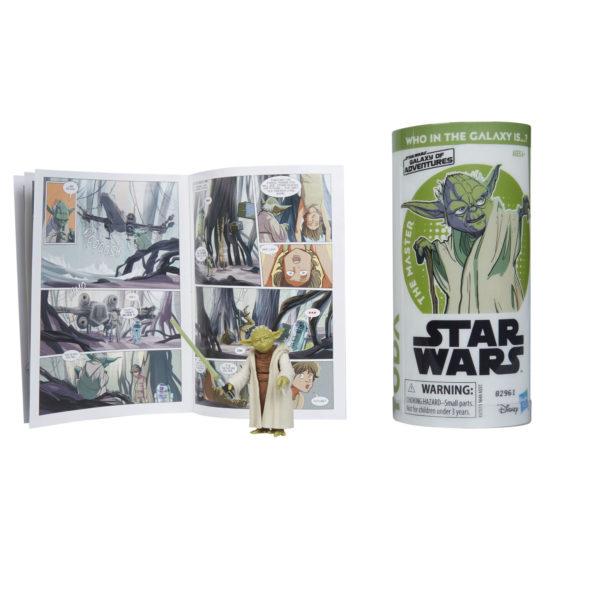 STAR WARS GALAXY OF ADVENTURES YODA Figure and Mini Comic (2)