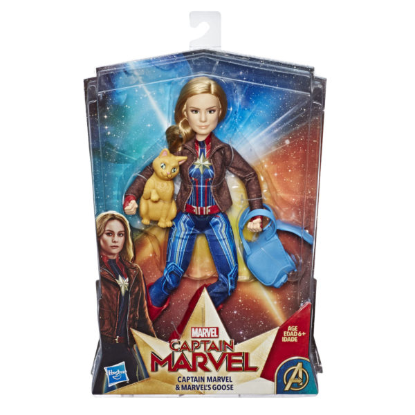 CAPTAIN MARVEL MOVIE CAPTAIN MARVEL DOLL AND MARVEL'S GOOSE - in pkg