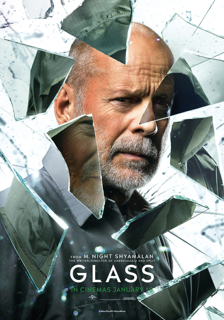 3 Character Posters And 1 Theatrical Poster For Glass