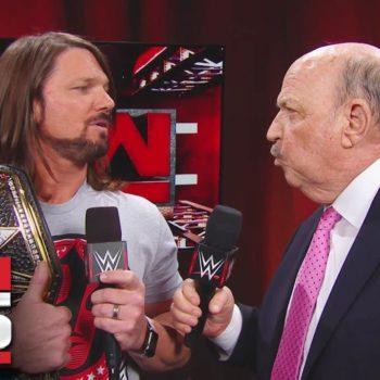 """Mean"" Gene Okerlund interviews AJ Styles: Raw 25, Jan. 22, 2018"