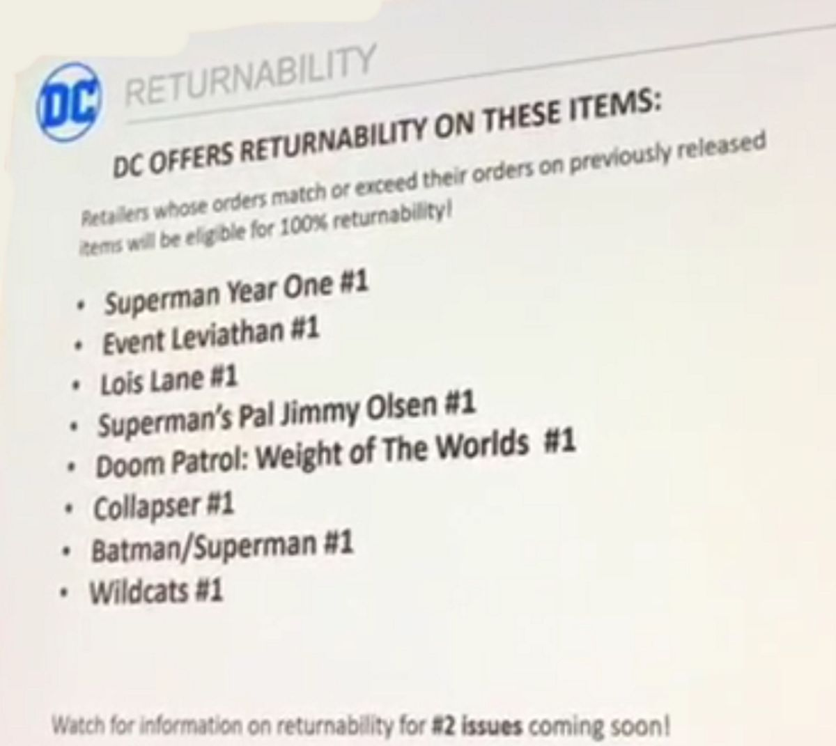 More DC Comics Being Made Returnable, Announced at Diamond Retail Summit