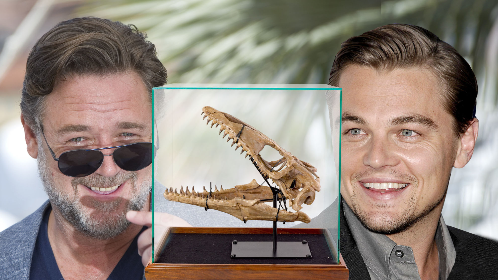 That Time Leonardo DiCaprio Sold a Dinosaur Skull to Russell Crowe - Editorial credit Russell Crowe: BAKOUNINE / Shutterstock.com, credit Leonardo DiCaprio: Everett Collection / Shutterstock.com