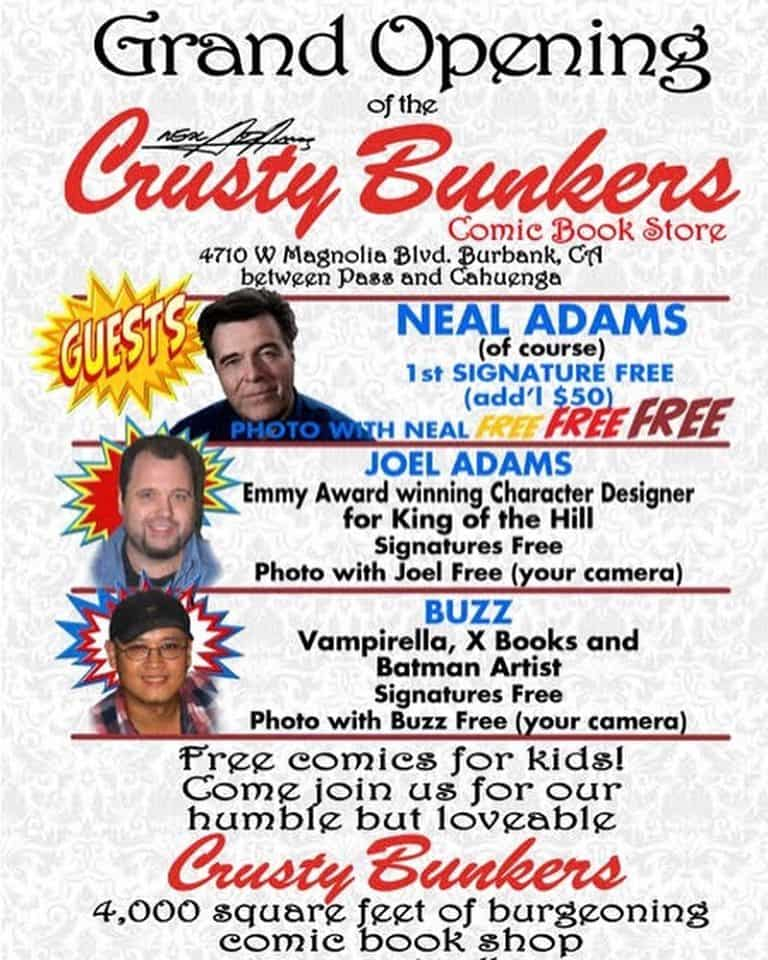Neal Adams Has A Grand Opening For His Crusty Bunkers Comic Shop in Burbank, Today