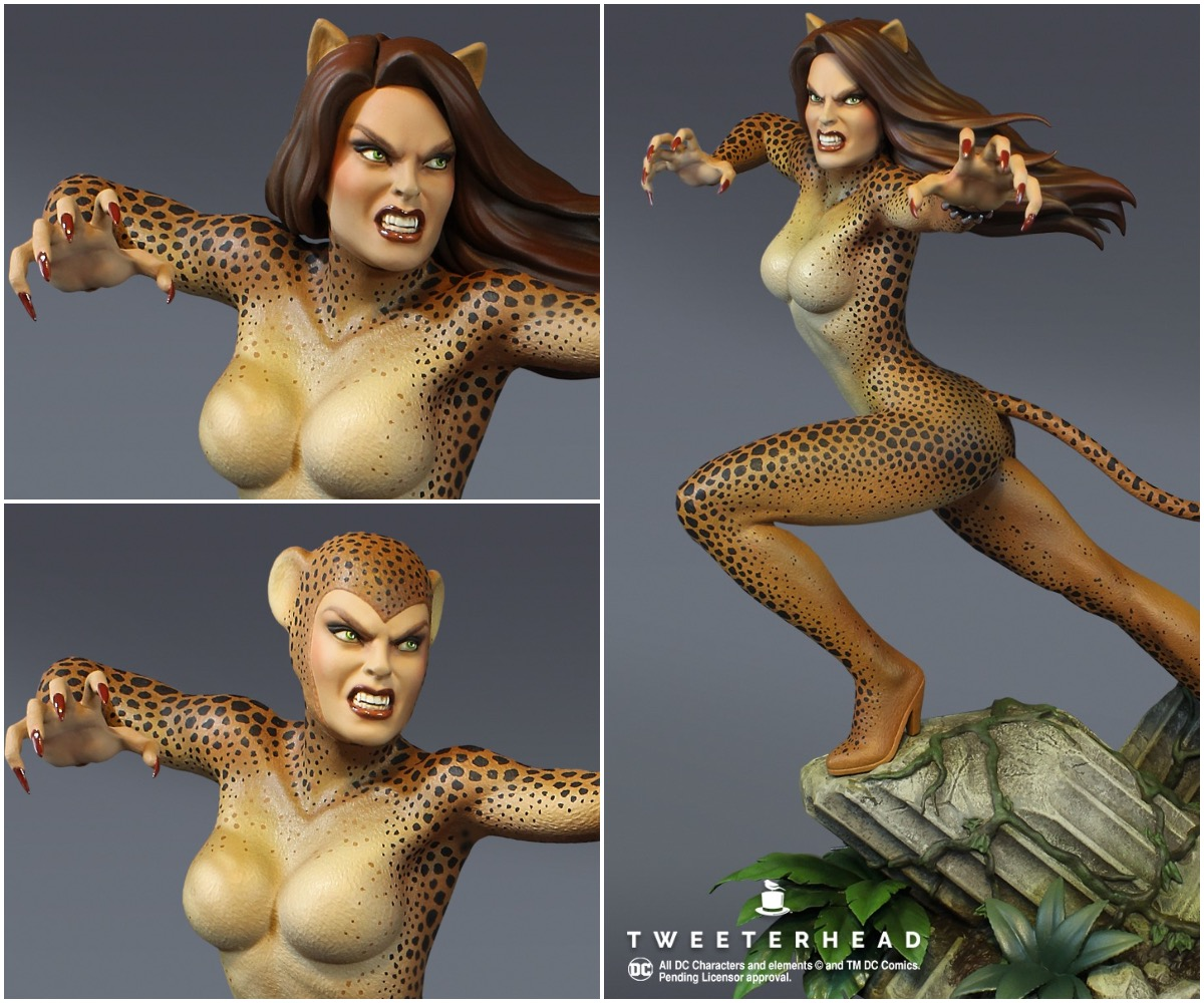 Cheetah Rumbles in the Jungle with Tweeterhead Statue