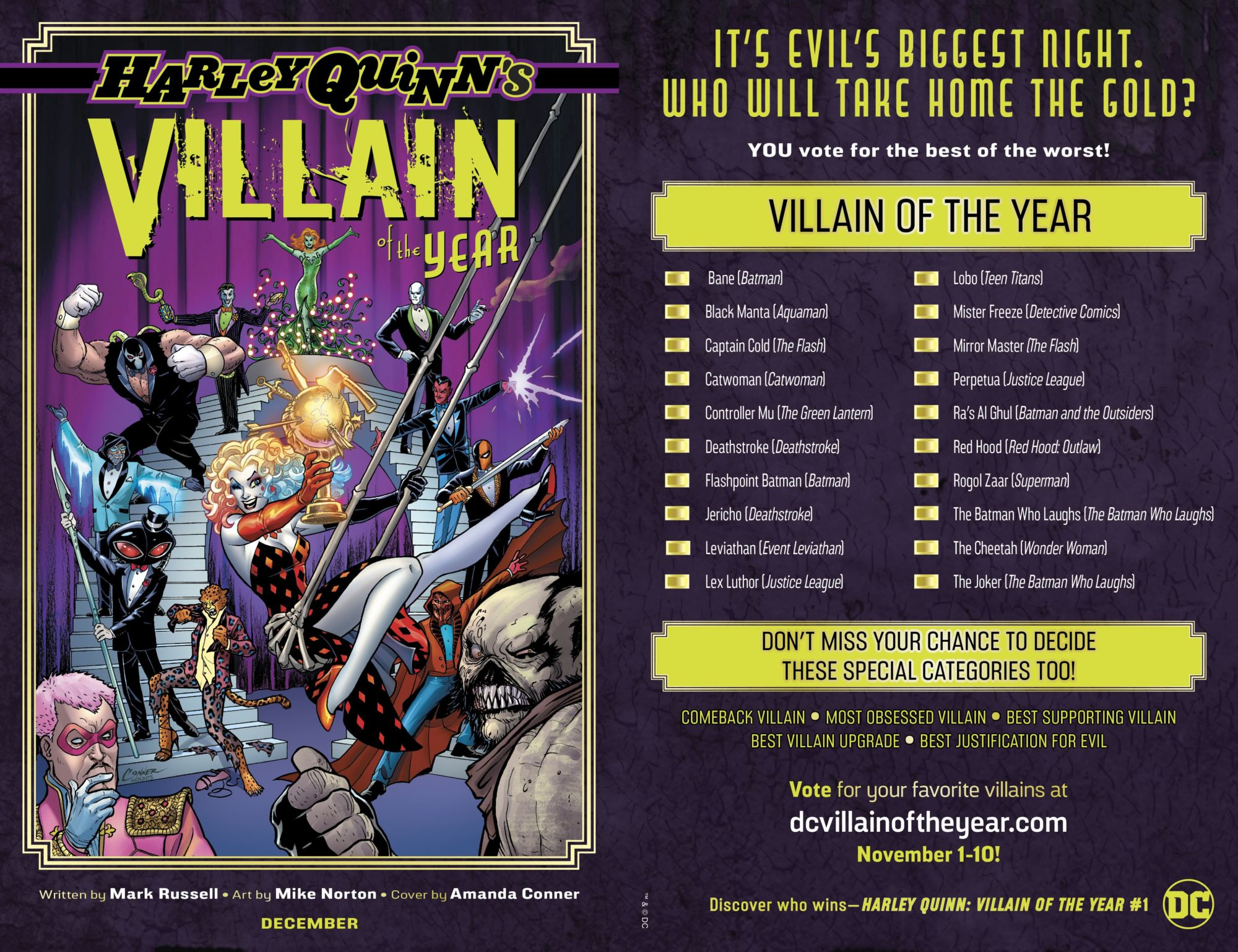Nominations Revealed in Public Vote For Official DC Villain Of The Year