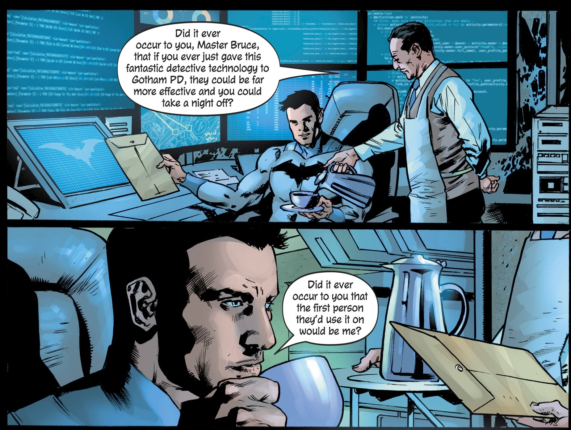 Alfred Pennyworth Accuses Batman of Committing Crimes Against Capitalism – The Batman's Grave #3 Preview