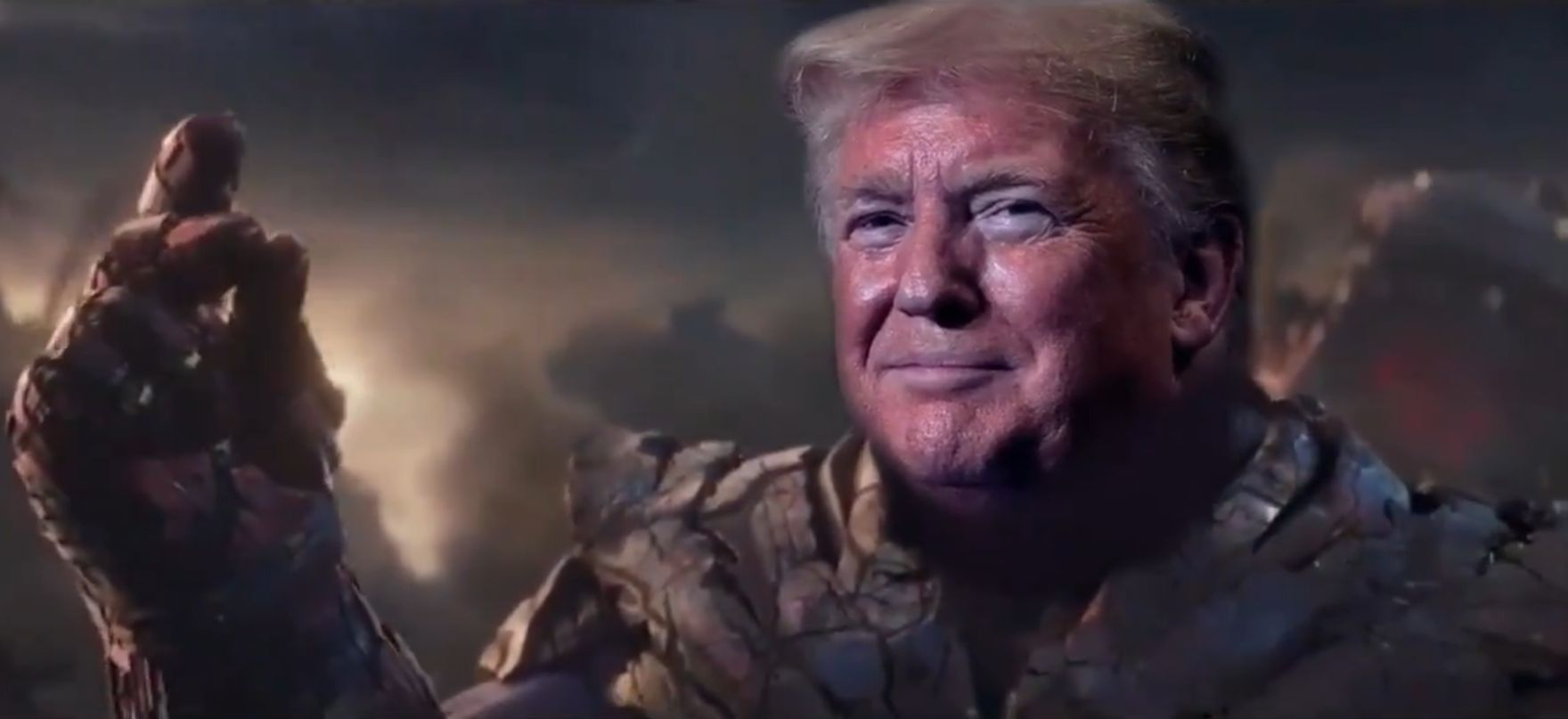 Trump Re-election Official Campaign Video Has Trump as Thanos Killing All the Democrats - of Half the Life In The Universe