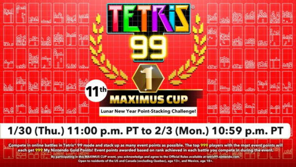 """Tetris 99"" Will Be Throwing A Lunar New Year Maximus Cup"