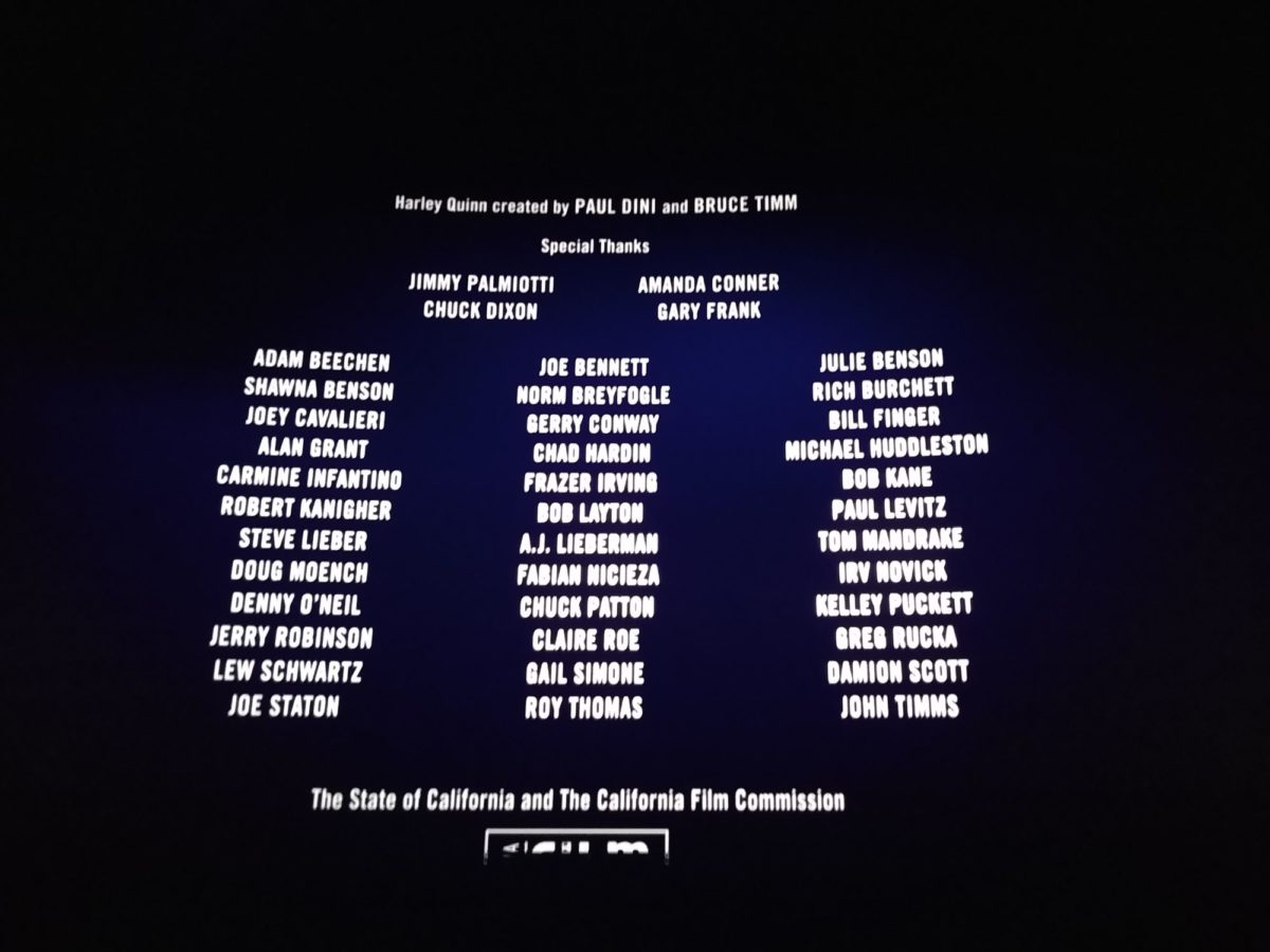 The Comic Book Creator Credits For Birds Of Prey And The Fantabulous Emancipation Of One Harley Quinn